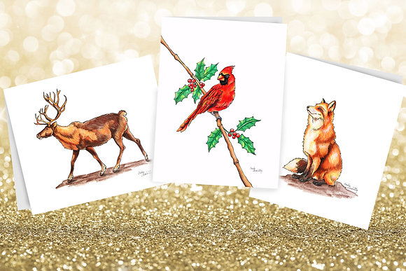 Winter Animals Boxed Set of 10 Greeting Cards