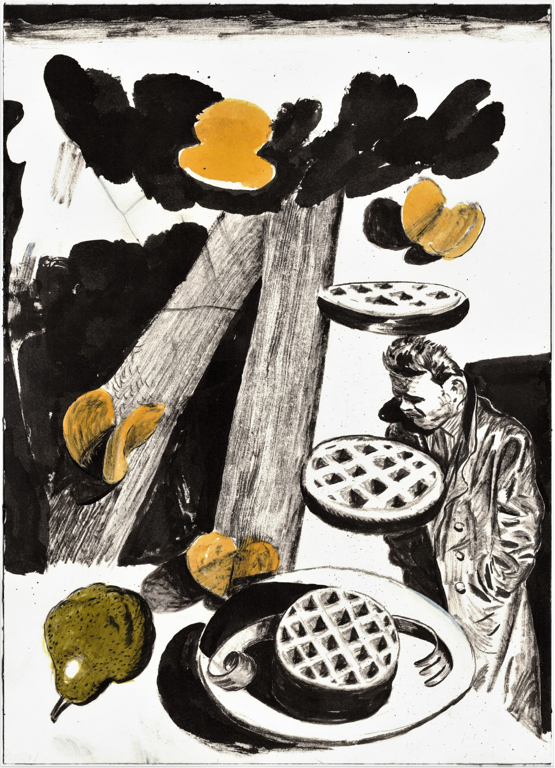 Composition With Pear and Mini-Waffles