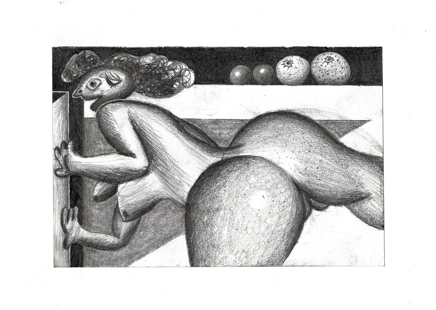 Figure Pushing A Door Open with Fruits on the Horizon