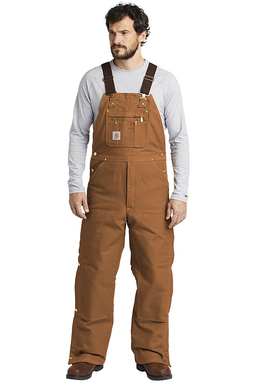 Carhartt ® Duck Quilt-Lined Zip-To-Thigh Bib Overalls CTR41