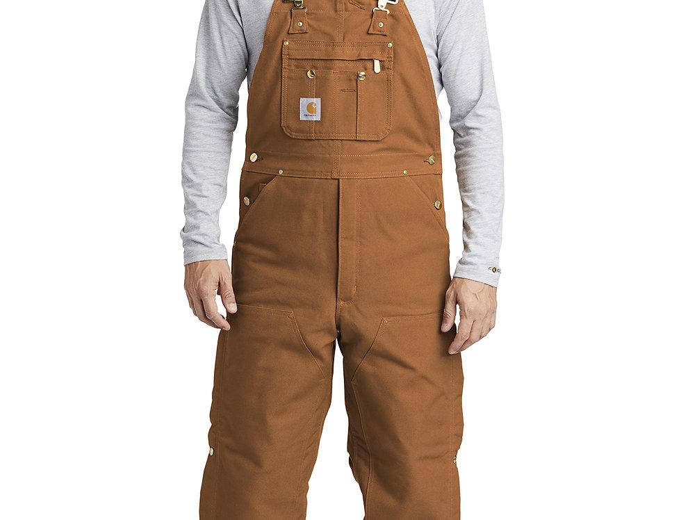 Carhartt ® Duck Quilt-Lined Zip-To-Thigh Bib Overalls CTR41