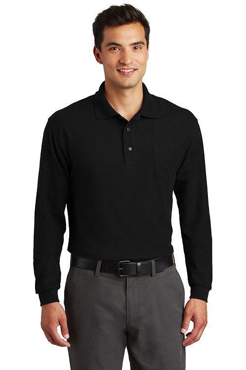 Port Authority Silk Touch Long Sleeve Polo with Pocket K500LSP