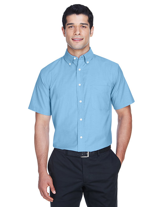 Harriton Men's Short-Sleeve Oxford with Stain-Release M600S