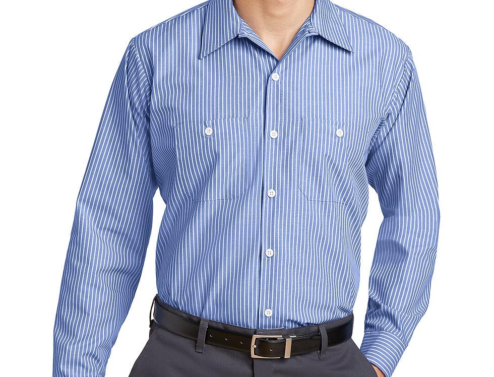 Red Kap® Long Size. Long Sleeve Striped Industrial Work Shirt CS10LONG