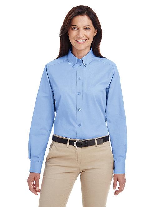 Harriton Ladies' Foundation 100% Cotton Long-Sl Twill Shirt with Teflon™ M581W