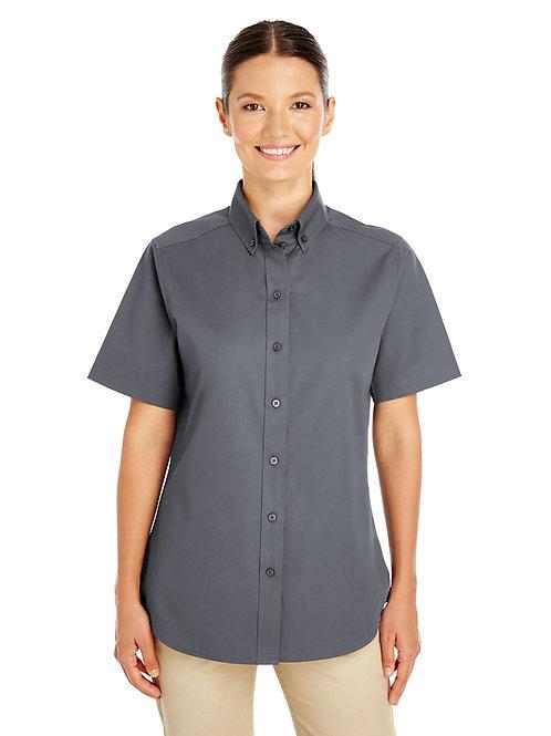 Harriton Ladies' Foundation 100% Cotton Short-Sl Twill Shirt with Teflon™ M582