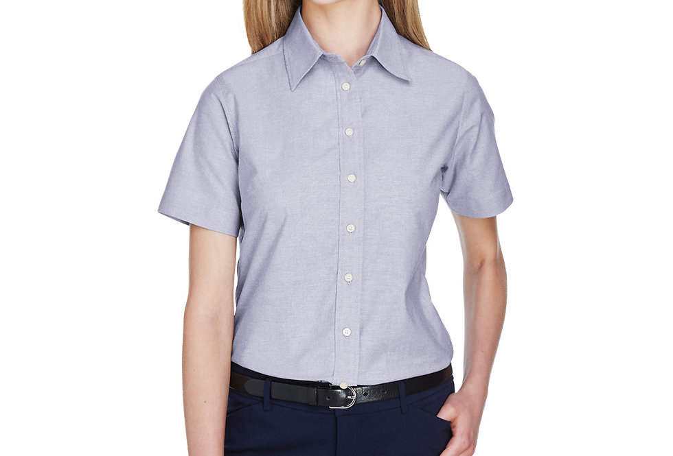 Harriton Ladies' Short-Sleeve Oxford with Stain-Release M600SW