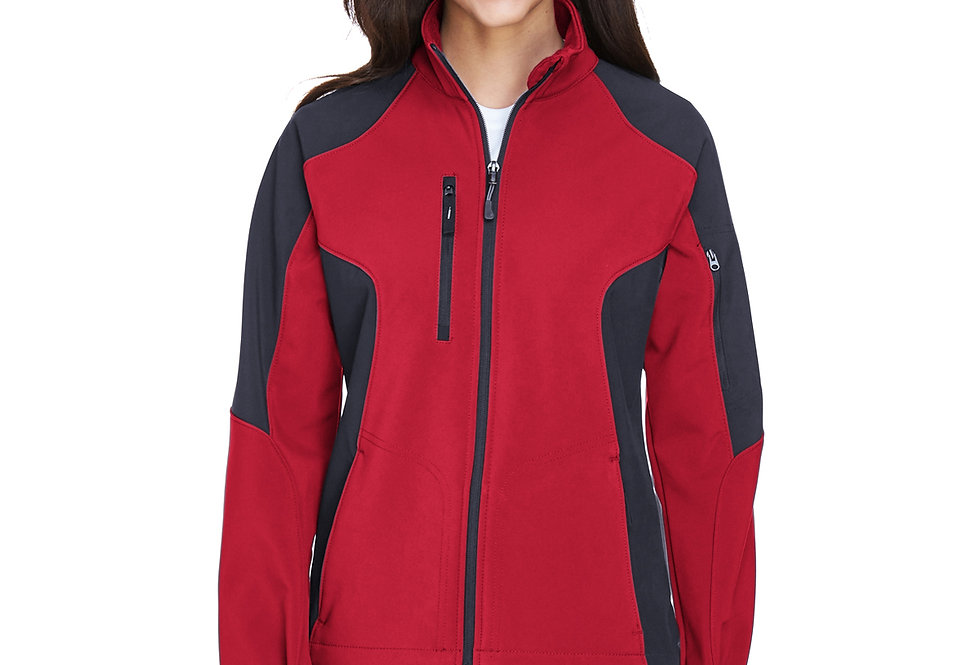 North End Ladies' Compass Colorblock Three-Layer Fleece Bonded Soft Shell 78077
