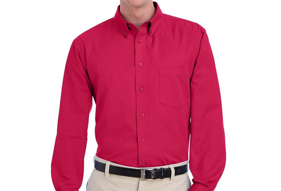 Harriton Men's Foundation 100% Cotton Long-Sleeve Twill Shirt with Teflon™ M581