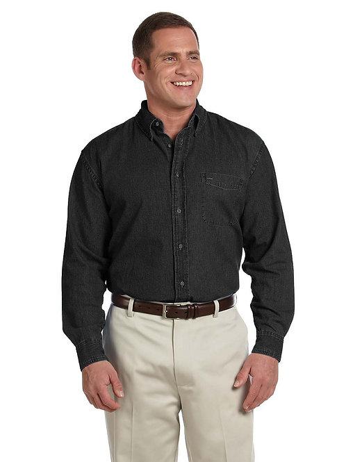 Harriton Men's Tall 6.5 oz. Long-Sleeve Denim Shirt M550T