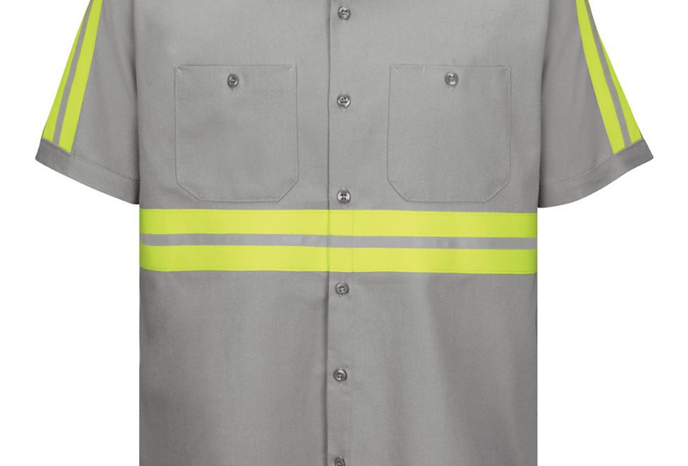 Red Kap - Enhanced Visibility Short Sleeve Cotton Work Shirt Long Sizes - SC40EL