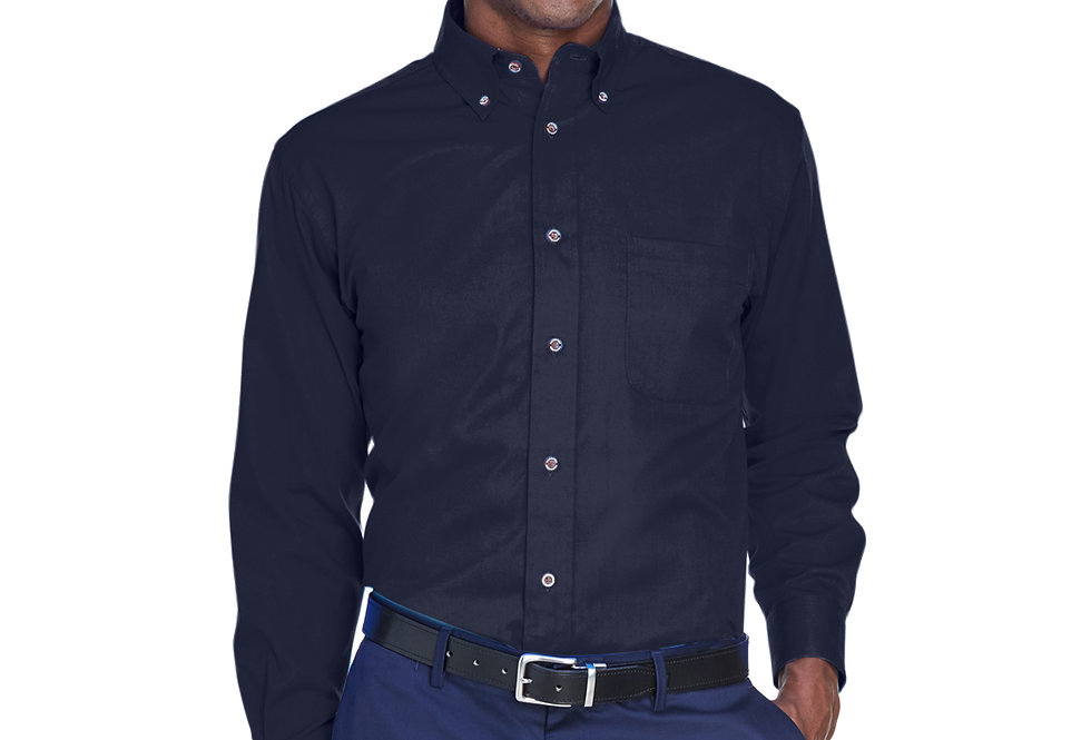 Harriton Men's Easy Blend™ Long-Sleeve Twill Shirt with Stain-Release M500