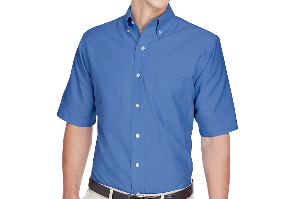 UltraClub Men's Classic Wrinkle-Resistant Short-Sleeve Oxford 8972