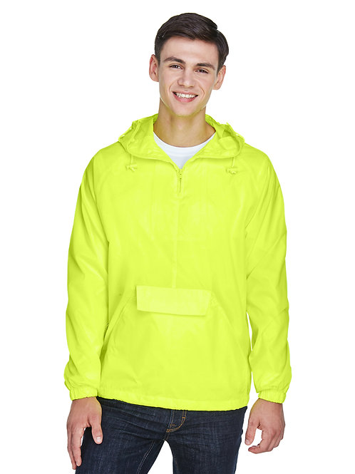 Ultra Club Adult Quarter-Zip Hooded Pullover Pack-Away Jacket 8925