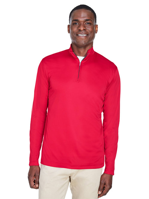 UltraClub Men's Cool & Dry Sport Performance Interlock Quarter-Zip Pullover 8424