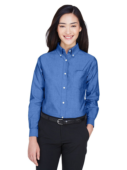 UltraClub Ladies' Classic Wrinkle-Resistant Long-Sleeve Oxford 8990