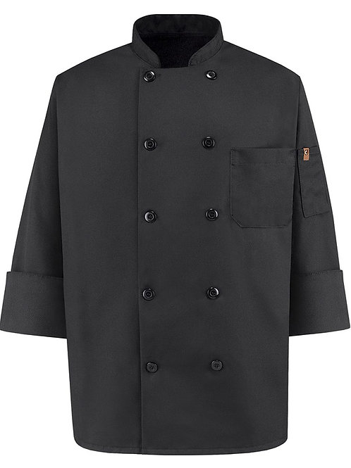 Chef Designs - Ten Pearl Button Black Chef Coat - 0425