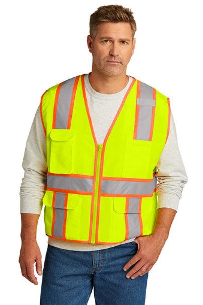 CornerStone® ANSI 107 Class 2 Surveyor Zippered Two-Tone Vest CSV105