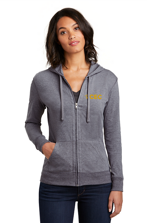 District ® Women's Fitted Jersey Full-Zip Hoodie DT2100