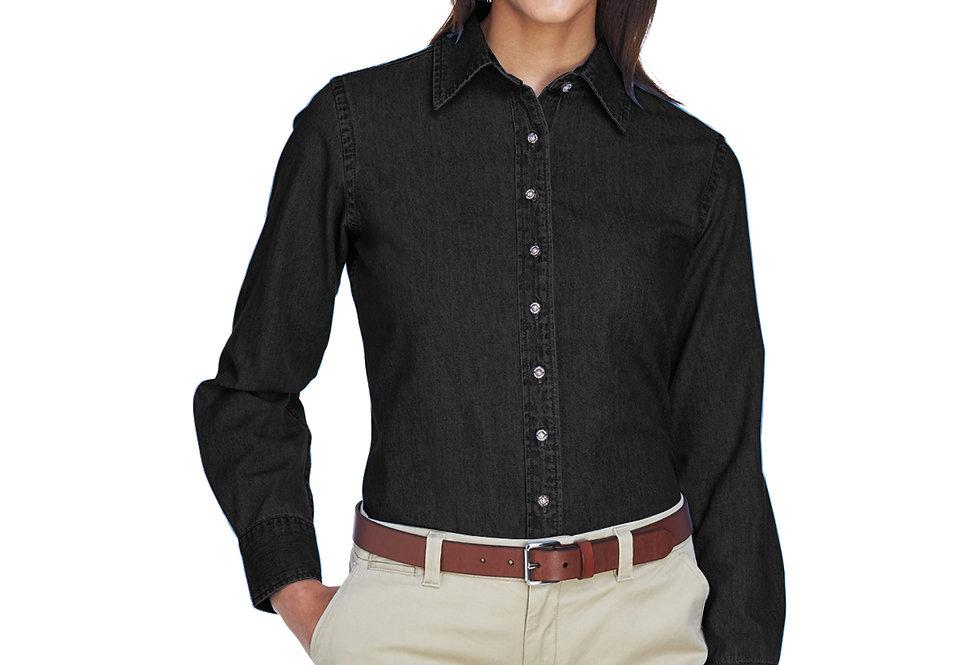 Harriton Ladies' 6.5 oz. Long-Sleeve Denim Shirt M550W