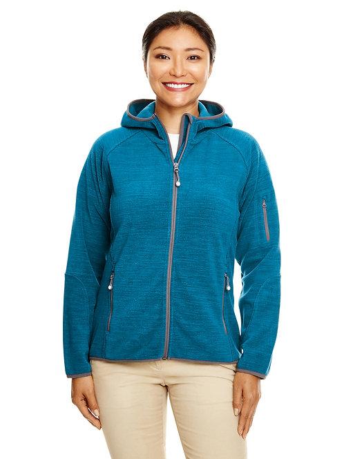 Devon & Jones Ladies' Perfect Fit™ Mélange Velvet Fleece Hooded Full-Zip DP700W