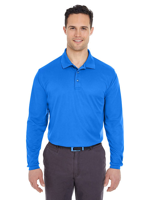 UltraClub Adult Cool & Dry Long-Sleeve Mesh Piqué Polo 8210LS