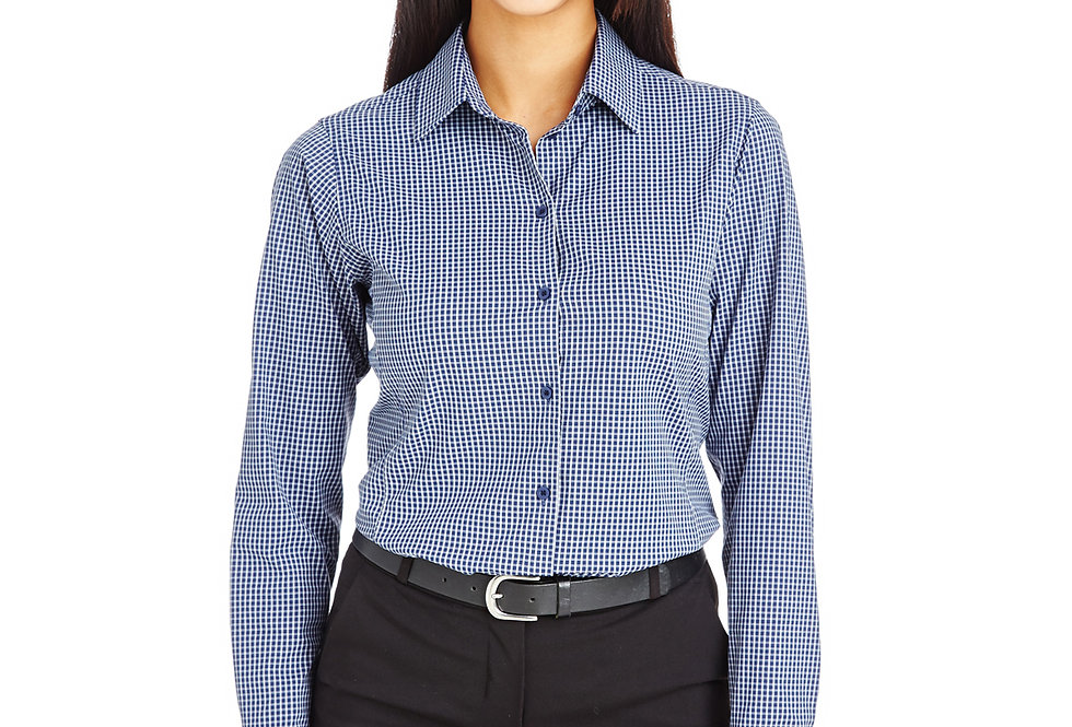 Devon & Jones CrownLux Performance™ Ladies' Tonal Mini Check Shirt DG535W