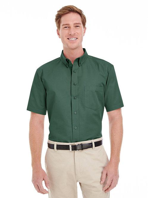 Harriton Men's Foundation 100% Cotton Short-Sleeve Twill Shirt with Teflon™ M582