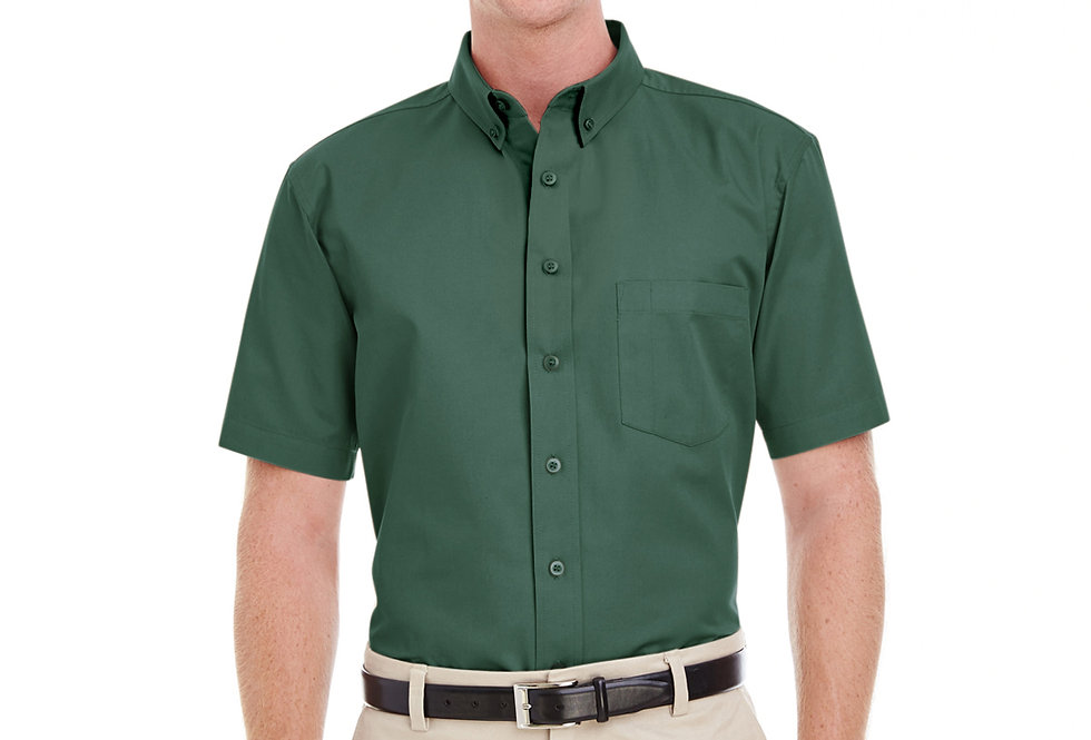 Harriton Men's Foundation 100% Cotton Short-Sleeve Twill Shirt with Teflon™ M582