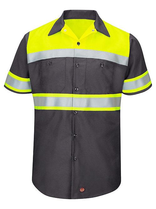 Red Kap - Hi-Visibility Colorblock Ripstop Short Sleeve Work Shirt - TALL - SY80