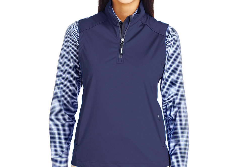 Core 365 Ladies' Techno Lite Three-Layer Knit Tech-Shell Quarter-Zip Vest CE709W