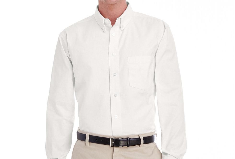 Harriton Men's Tall Foundation 100% Cotton Long-Sl Twill Shirt with Teflon™M581T