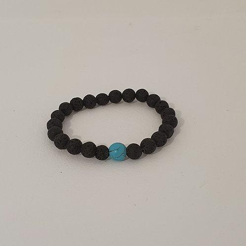 Bracelet en perles de lave naturelles élastique