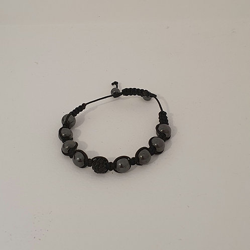 Bracelet en perles naturelles acier inoxydable