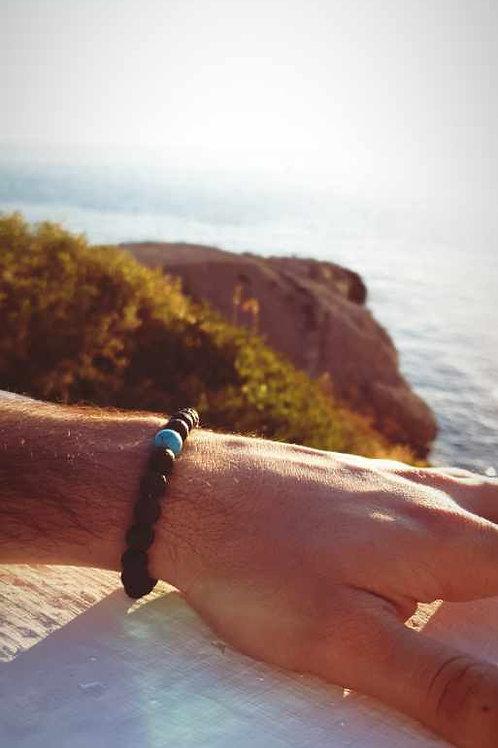 Bracelet perles naturelles de lave élastique