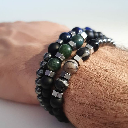 Bracelet homme perles naturelles et acier inoxydable