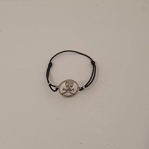 Bracelet réglable tête de mort acier inoxydable