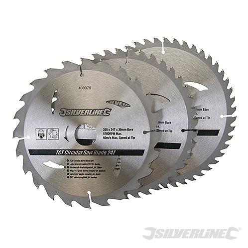 TCT Circular Saw Blades 24, 40, 48T 3pk --- Silverline --- CODE: 408979