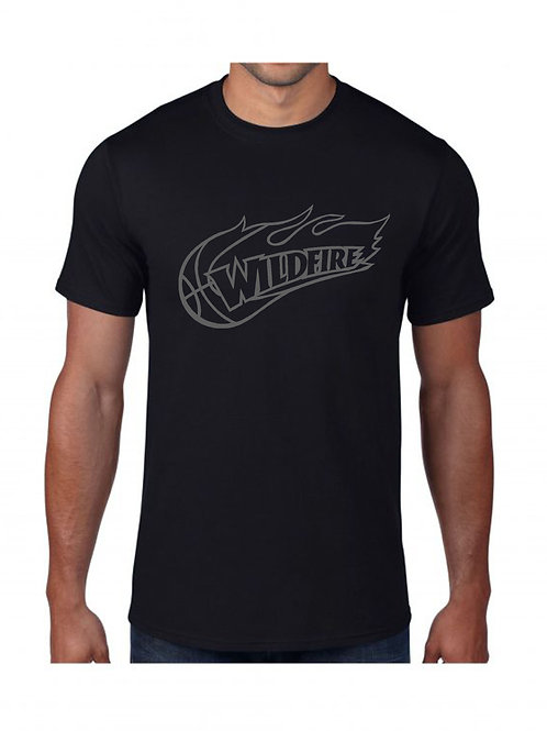 Wildfire Black Cotton Tshirt with Grey Logo