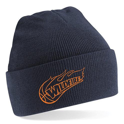 Wildfire Navy Blue Beanie  with Orange Logo