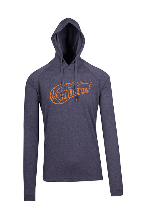 Wildfire Navy Marl Cotton Hoodie Tshirt with Orange Logo