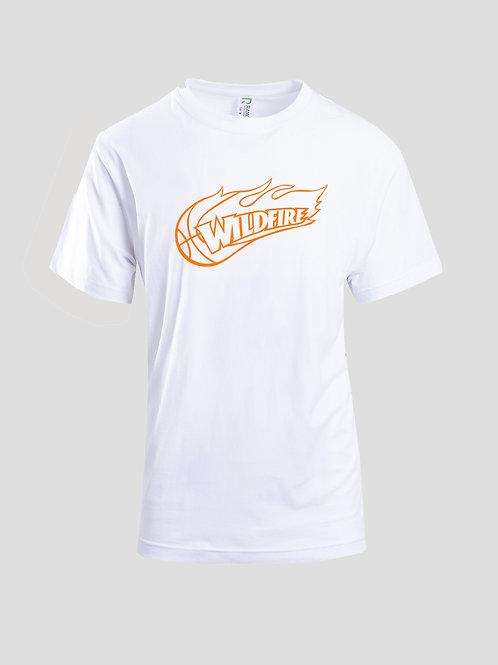 Wildfire White Tshirt with Orange Logo