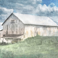 Old White Barn and Blue 20 x 30