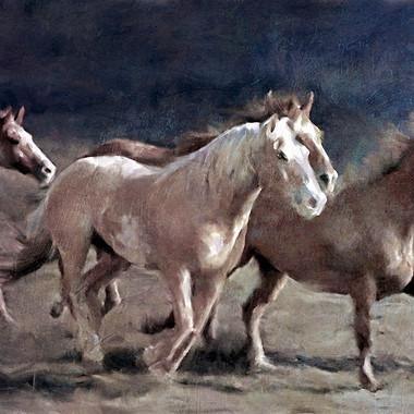 rustic running horses