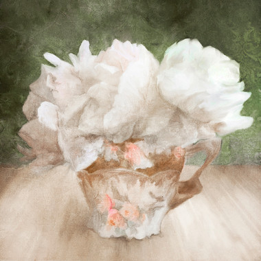 Peonies and White Teacup