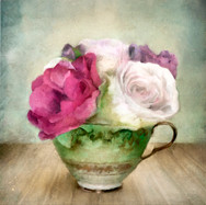 Green Teacup and Roses