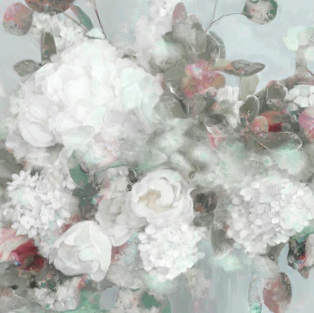 Blushing Blooms White and Sage