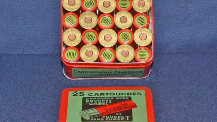 Collectors Tin 25 16 Bore Paper Cartridges 000 Shot.