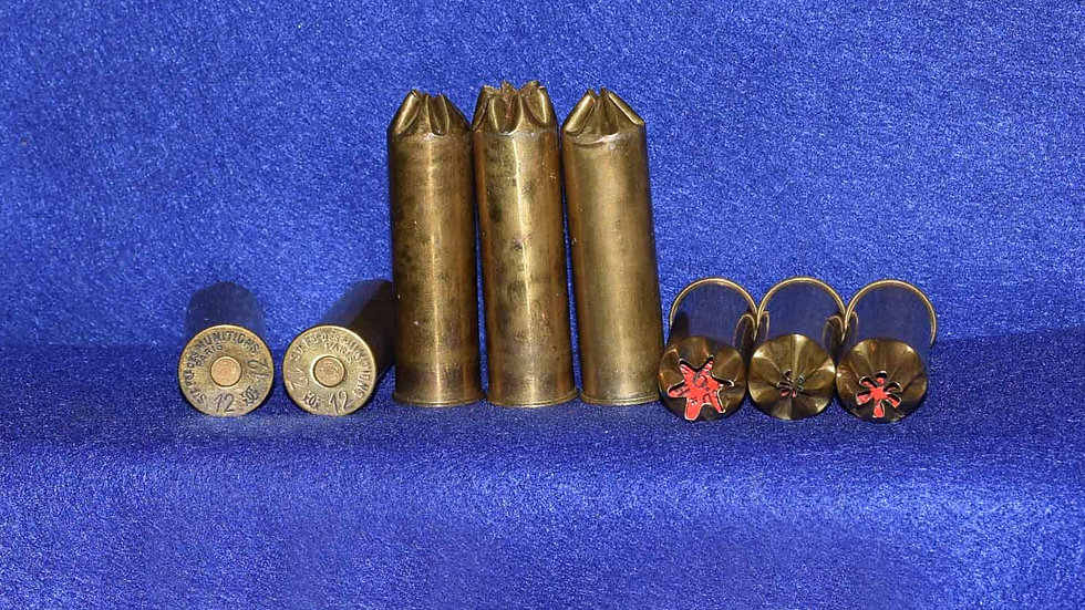 French 12 Bore Brass Crimped Cases