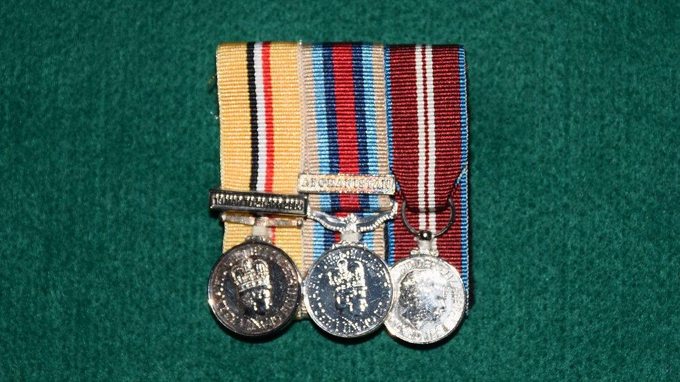 Miniature Trio;  Iraq Medal 2004, OSM Afghanistan, Diamond Jubilee Medal.